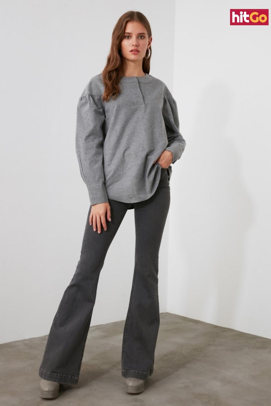 Trendyol Grey Sleeve Detailed Blouse dámské 40