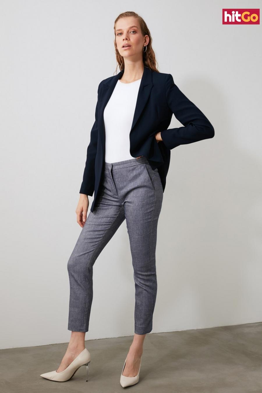Trendyol Indigo Basic Fabric Pants dámské 42