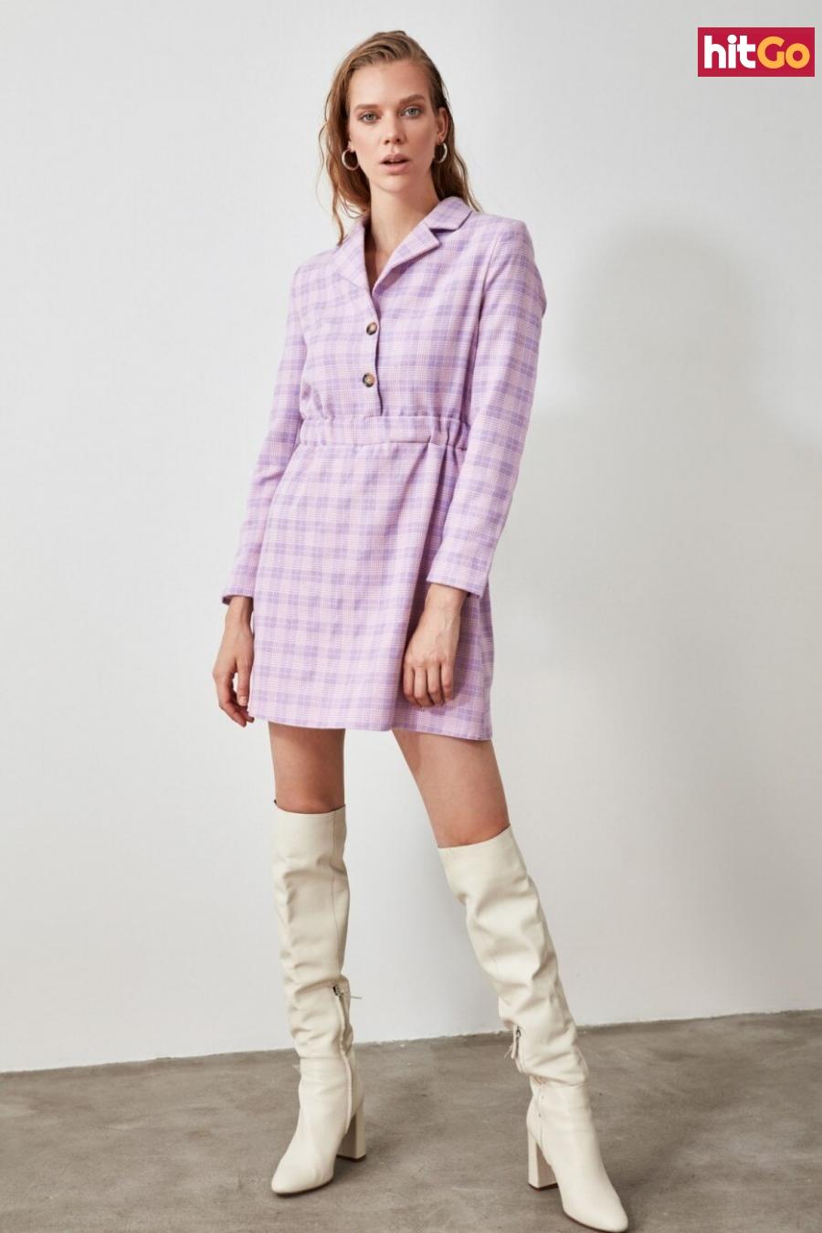 Trendyol Lila Shirt Collar Button Dress dámské Lilac 34