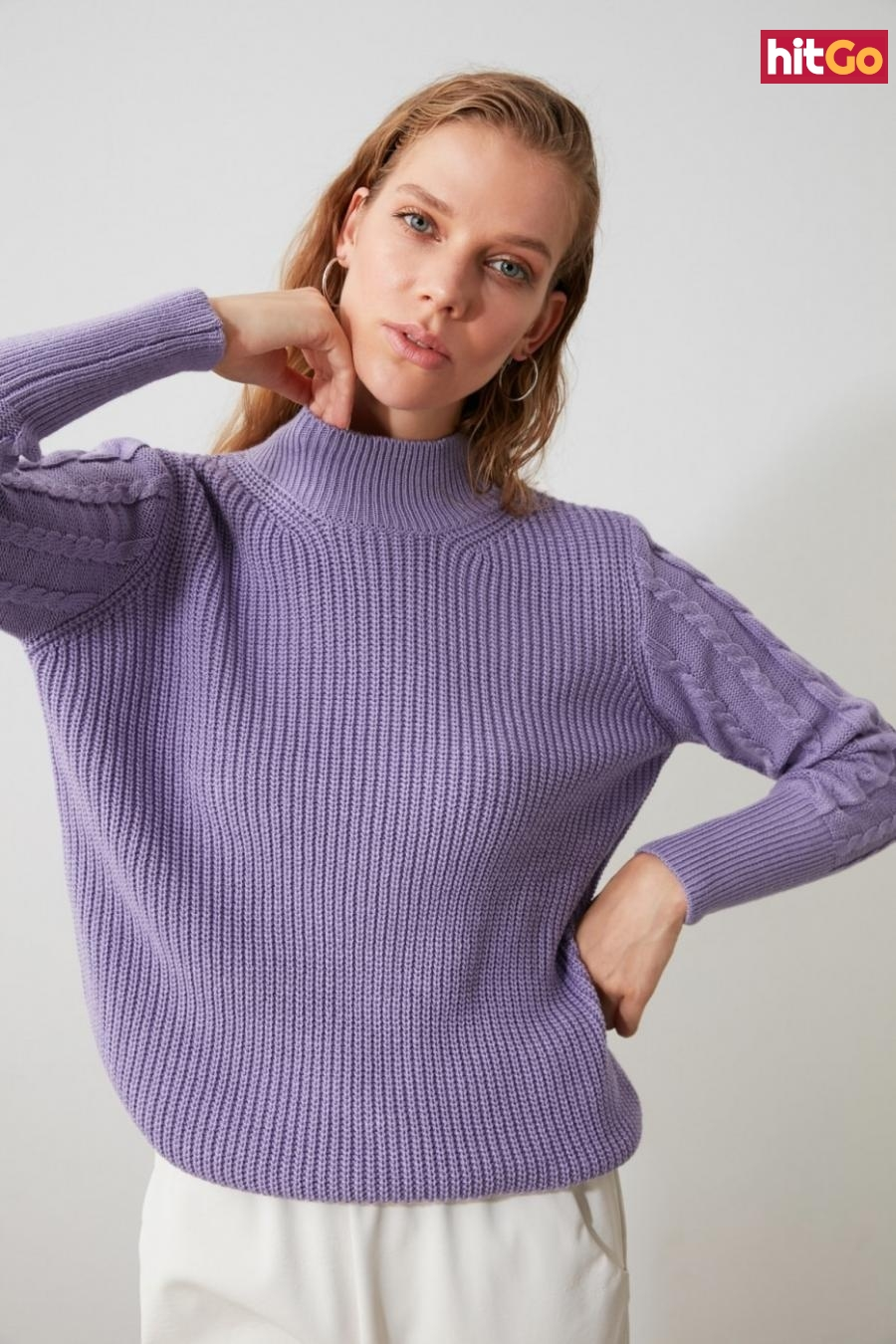 Trendyol Lila Sleeves Knitted Knitted Knitwear Sweater dámské Lilac M