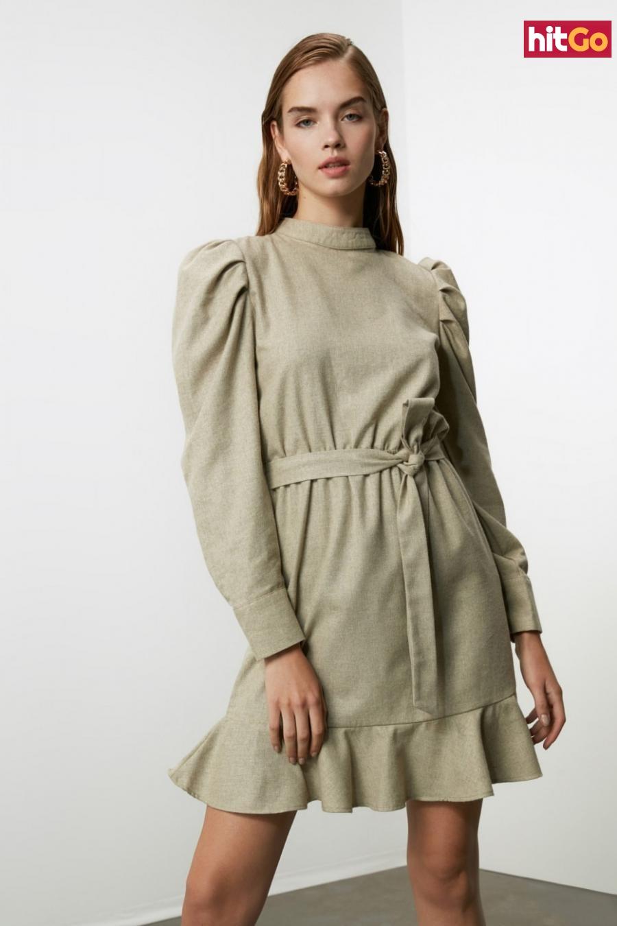 Trendyol Mink Belt Flywheel Dress dámské 36