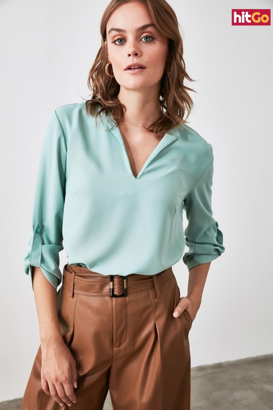 Trendyol Mint Collar Detailed Blouse dámské 34