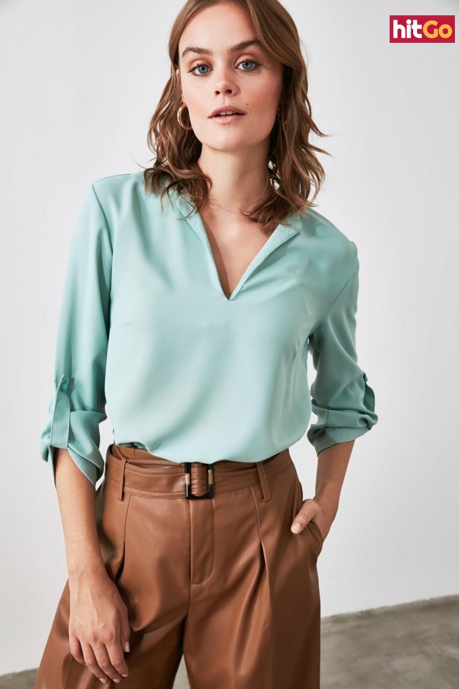 Trendyol Mint Collar Detailed Blouse dámské 38
