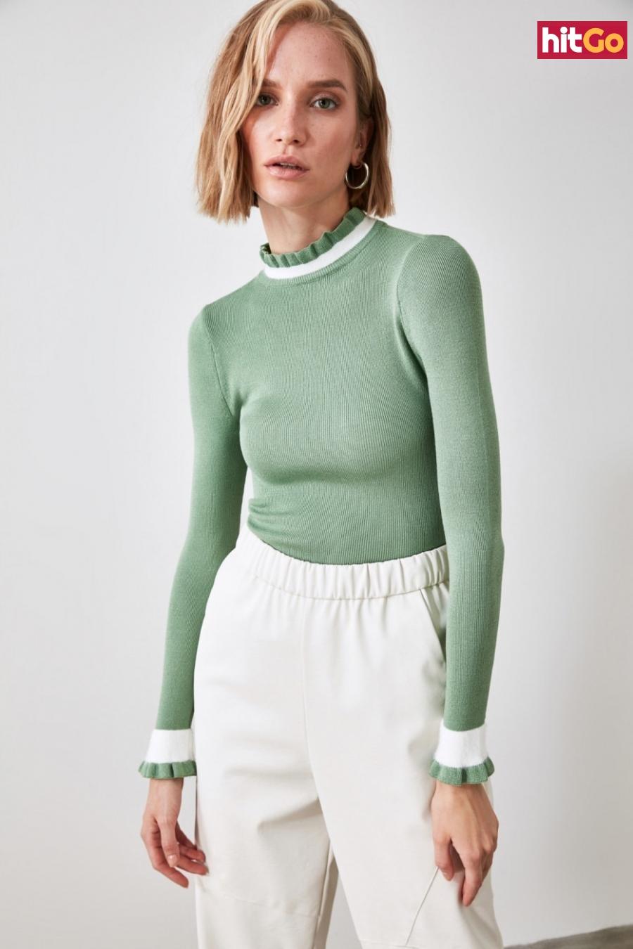 Trendyol Mint Knitwear Sweater dámské L