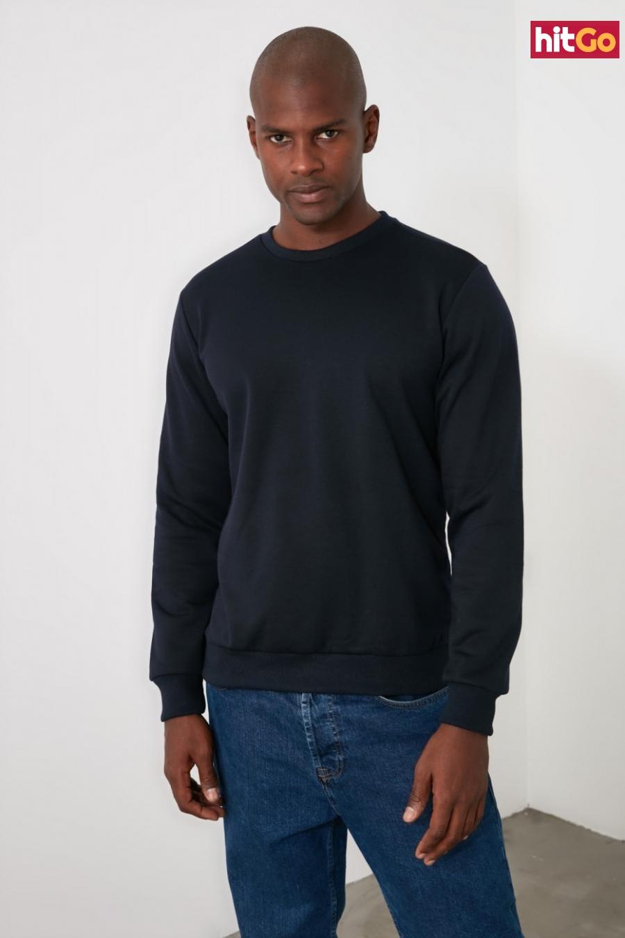 Trendyol Navy Mens Regular Fit Sweatshirt pánské L