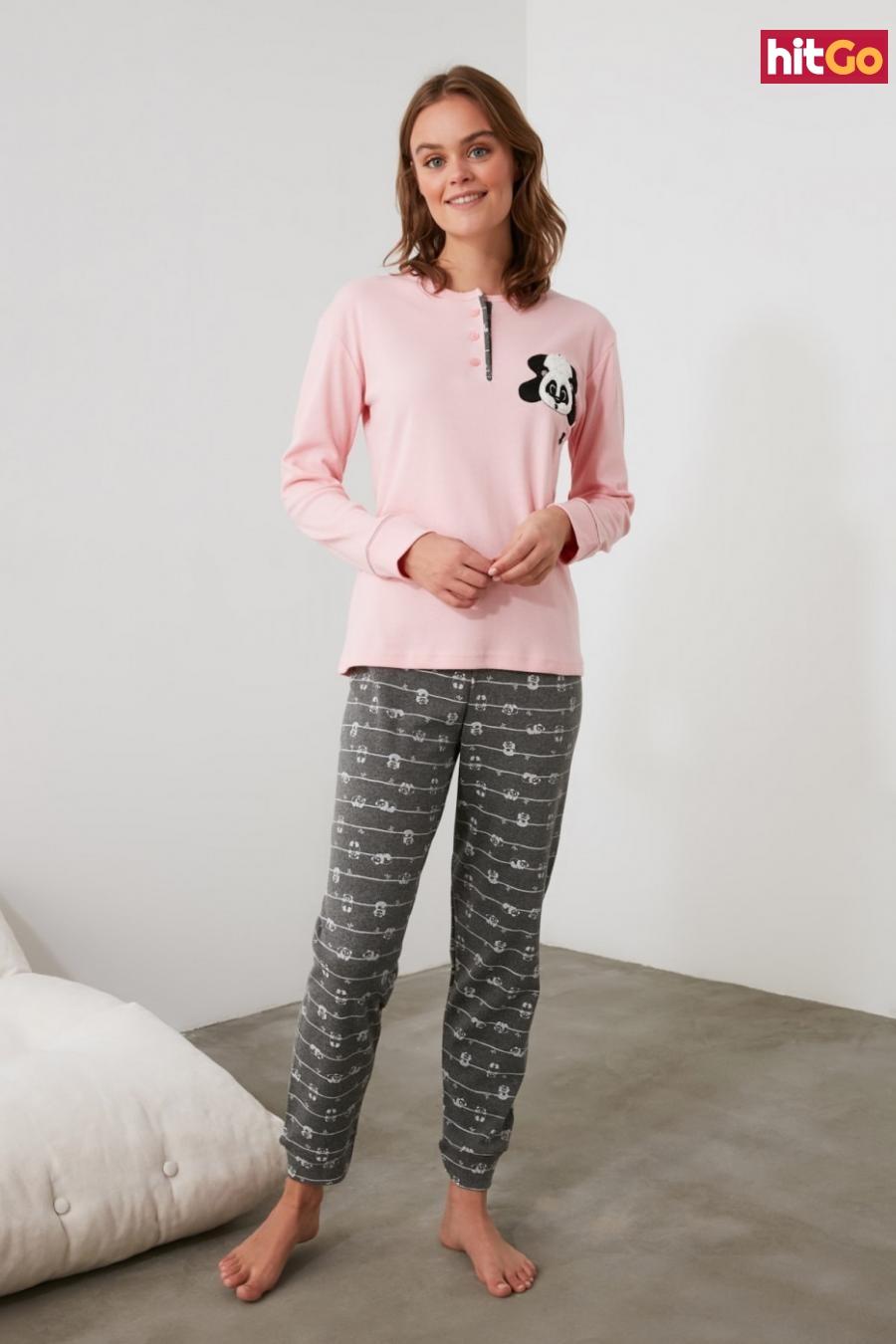 Trendyol Pink Embroidered Knitted Pajama Set dámské L