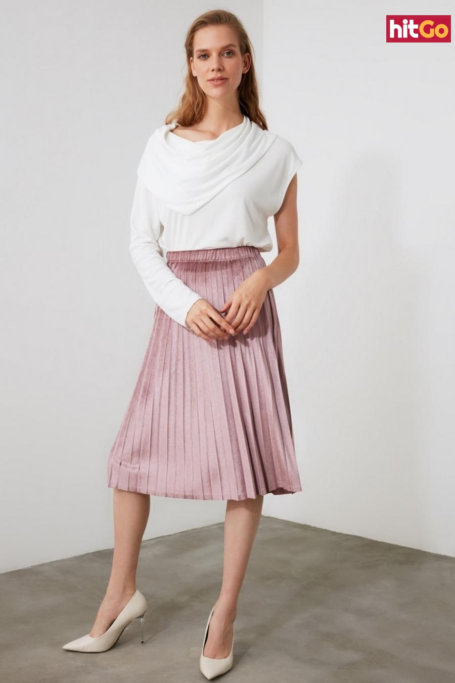 Trendyol PowderEd Pleated Knitted Skirt dámské powder pink M