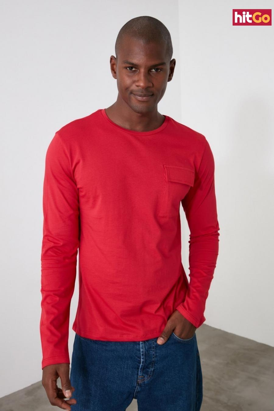 Trendyol Red Mens Long Sleeve Pocket Detailing Regular Fit T-Shirt pánské L