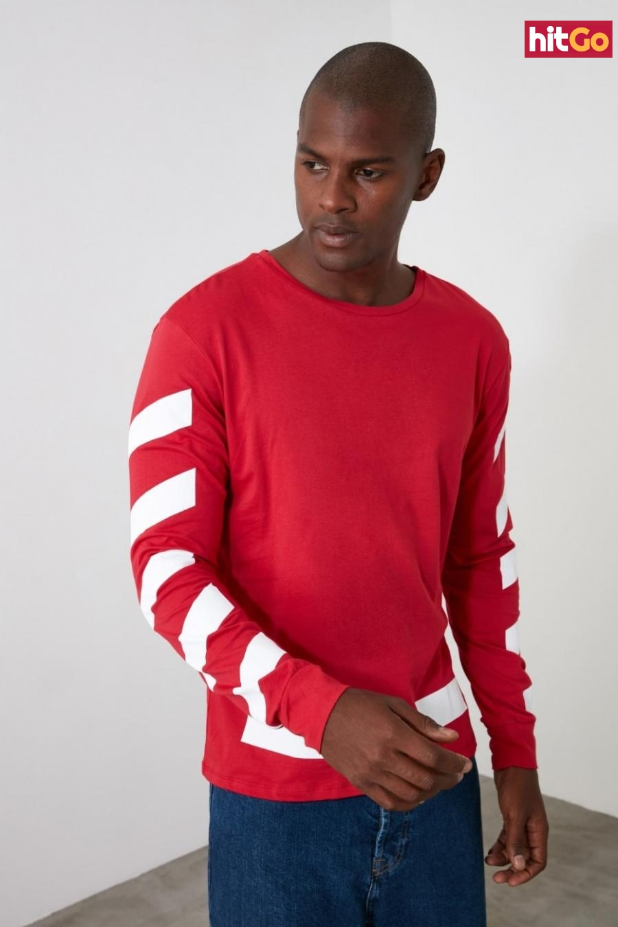 Trendyol Red Mens Long Sleeve Printed Regular Fit T-Shirt pánské S