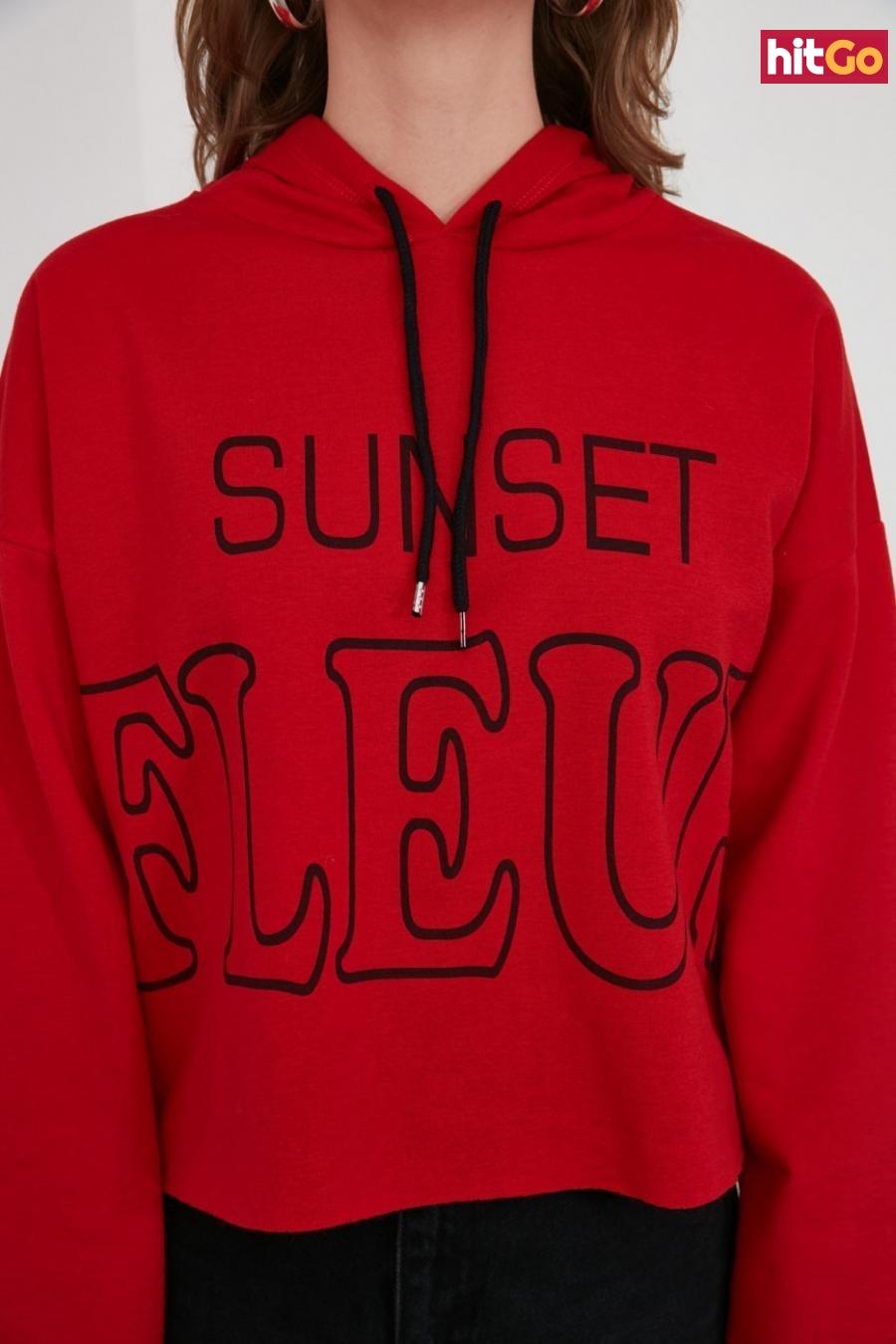Trendyol Red Printed Knitted Sweatshirt dámské XS