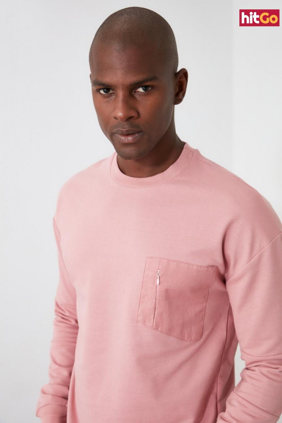 Trendyol Rose Dry Mens Bicycle Collar Pocket Detailed Sweatshirt pánské L