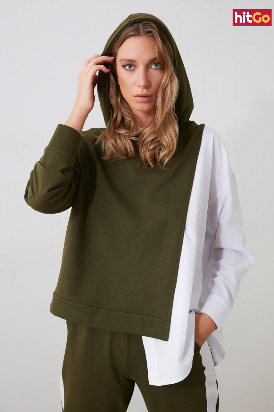 Womens hoodie Trendyol Basic dámské Khaki S