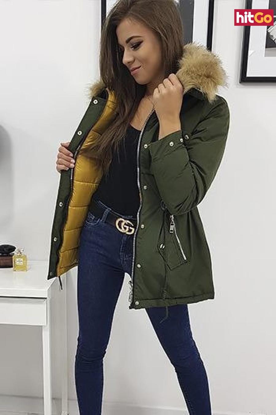 Womens winter reversible parka jacket ROMA olive TY0932 dámské Neurčeno L