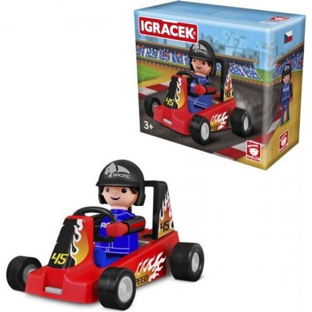 Igráček Závodník s motokárou - červená pánské