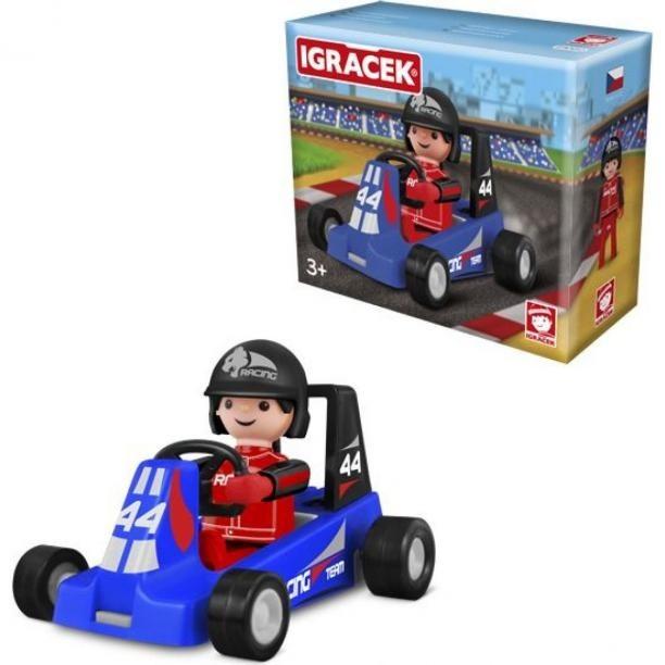 Igráček Závodník s motokárou - modrá pánské