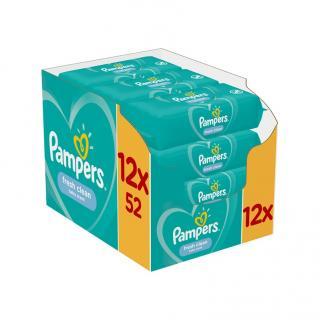 12 x PAMPERS Fresh Clean dětské vlhčené ubrousky zelená