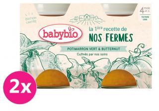 2x BABYBIO Zelená a máslová dýně z naší vlastní ekofarmy 2x130 g oranžová