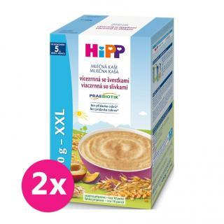 2x HIPP Mléčná kaše Praebiotik vícezrnná se švestkami mix barev