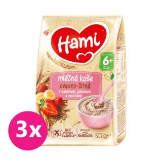 3 x HAMI Mléčná kaše ovesno-žitná s banánem, jahodami a malinami 210 g, 6