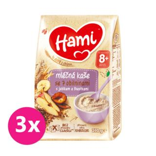 3 x HAMI Mléčná kaše se 7 obilninami s jablkem a švestkami 210 g, 8