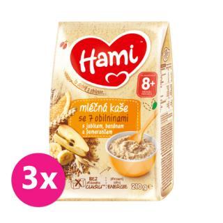 3 x HAMI Mléčná kaše se 7 obilninami s jablkem, banánem a pomerančem 210 g, 8