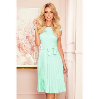 311-9 LILA Pleated dress with short sleeves - MINT dámské Neurčeno XXL