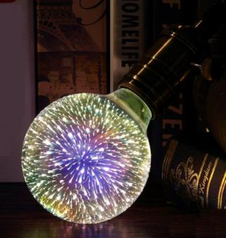 3D dekorativní Vánoční žárovka s ohňostroji uvnitř - 5 variant Typ: G80