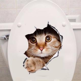 3D voděodolná nálepka do koupelny - Pes a Kočka Varianta: 1