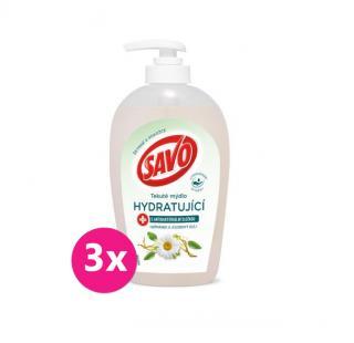 3x SAVO Tekuté mýdlo s antibakteriální složkou Heřmánek & Jojobový olej 250 ml mix barev