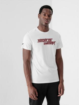 4F - Pánské tričko basic regular s potiskem - bílý - Velikost L pánské L