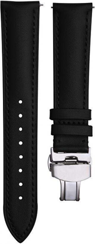 4wrist Kožený elegantní řemínek - Černý se stříbrnou sponou 18 mm