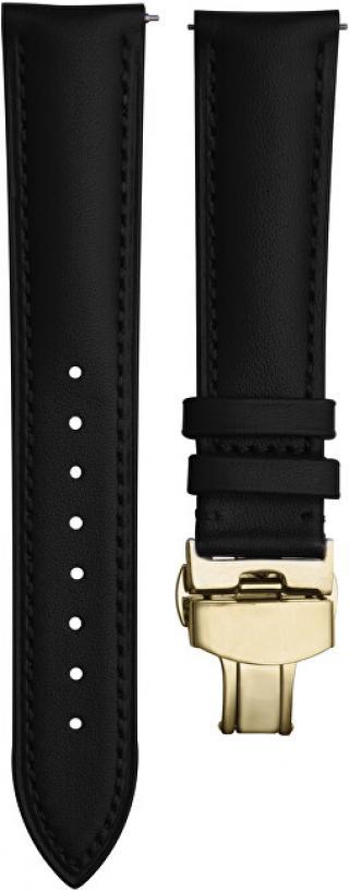4wrist Kožený elegantní řemínek - Černý se zlacenou sponou 18 mm