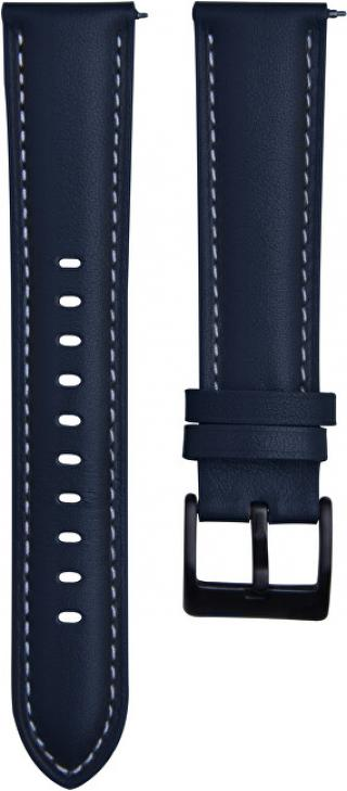 4wrist Kožený řemínek s prošíváním - Modrý 22 mm