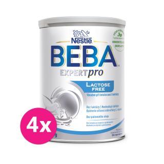 4x BEBA EXPERTpro Lactose free, počáteční mléčná kojenecká výživa, 0 , 400 g stříbrná