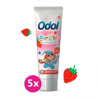 5x ODOL Perlička nová jahodová chuť zubní pasta 50 ml růžová