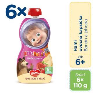 6x HAMI Máša a Medvěd ovocnozeleninová kapsička Banán a jahoda 110 g 6  růžová