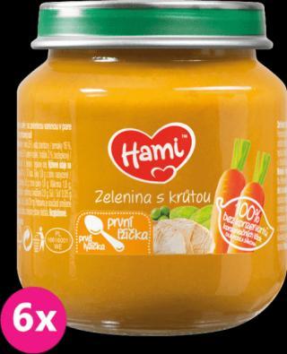 6x HAMI Zelenina s krůtím masem 125 g - maso-zeleninový příkrm