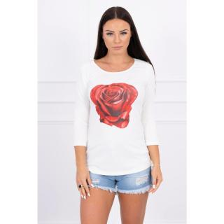 A blouse with a rose, ecru dámské Neurčeno One size