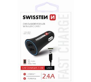 Adapter CL SWISSTEN 2x USB   USB-C kabel 2,4A, černá