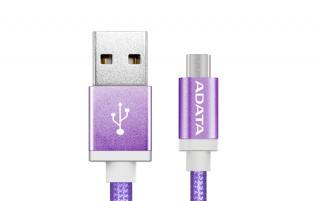 ADATA MicroUSB kabel nylonový 1m fialový