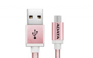 ADATA MicroUSB kabel nylonový 1m růžový