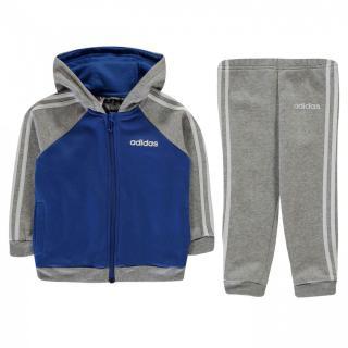Adidas 3 Stripe Full Zip Tracksuit Baby Boys pánské MedGrey 0-3 M