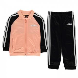 Adidas 3 Stripe Polo Tracksuit Baby Girls dámské Black 3-6 M