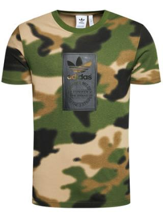 adidas T-Shirt Camo Tongue Label GN1863 Zelená Regular Fit pánské S