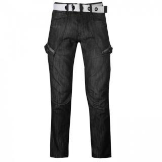 Airwalk Belted Cargo Jeans Mens pánské Other | Black II 38W R