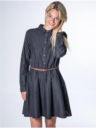 Alife and Kickin HANNA black denim krátké letní šaty - černá dámské M