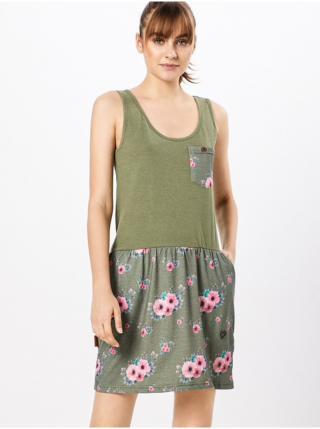 Alife and Kickin ROSALIE   Dust Flowers krátké letní šaty - zelená dámské XS
