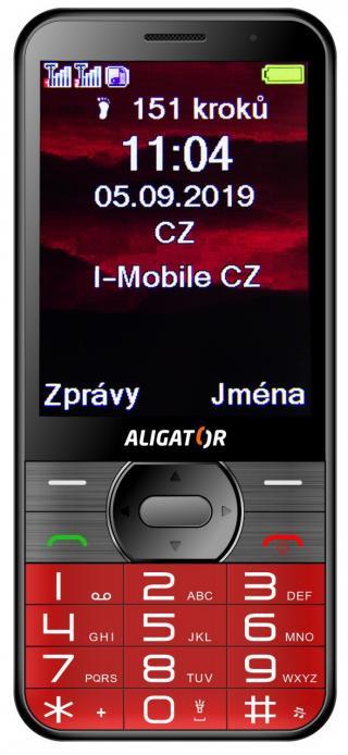 Aligator A900 GPS Senior červená   stolní nabíječka