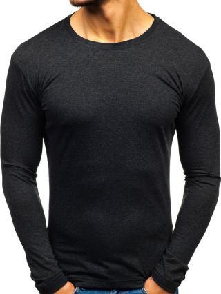 Antracitové pánské tričko s dlouhým rukávem bez potisku Bolf 1209 L