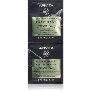 Apivita Express Beauty Green Clay čisticí a vyhlazující pleťová maska se zeleným jílem 2 x 8 ml dámské 2 x 8 ml